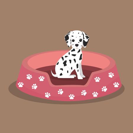 dalmatian: dalmatian puppy footprint pink bed vector illustration eps 10