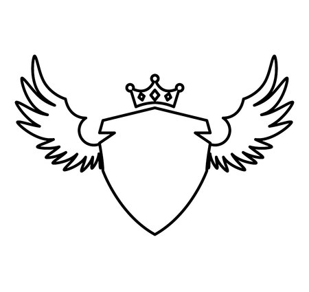 wings bird: elegant frame with wings vector illustration design