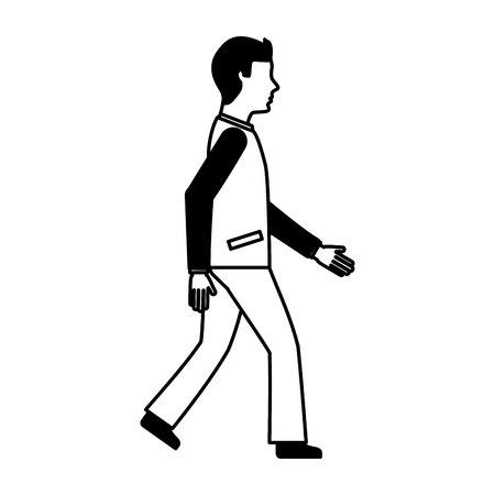 businessman avatar walking icon vector illustration design