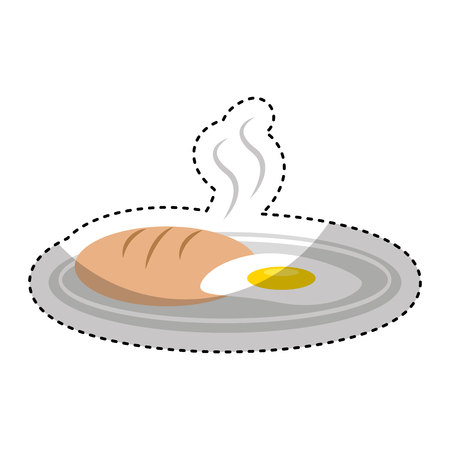 homemade bread: delicious bread with egg fried isolated icon vector illustration design Illustration