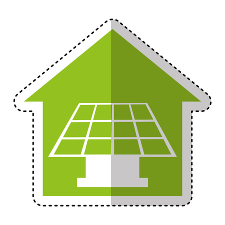 solar home: house exterior with panel solar isolated icon vector illustration design