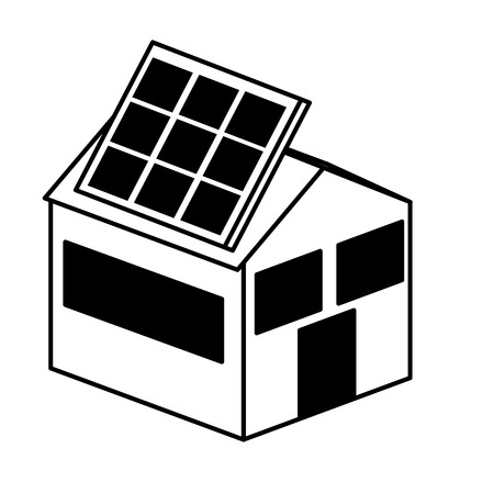 enviroment: house exterior with panel solar isolated icon vector illustration design