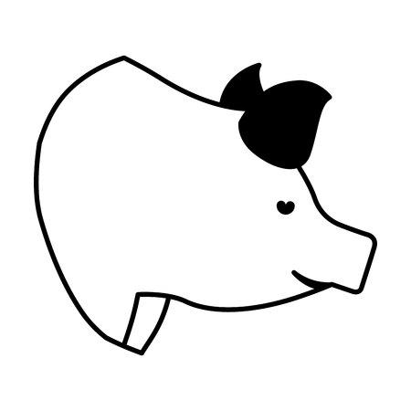 carnicería: carne de cerdo icono de carnicería ilustración vectorial de diseño
