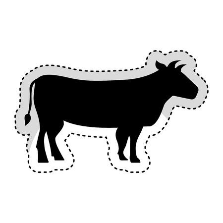 carnicería: cow meat butchery icon vector illustration design Vectores