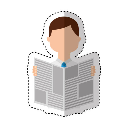 man reading newspaper icon vector illustration design Illustration