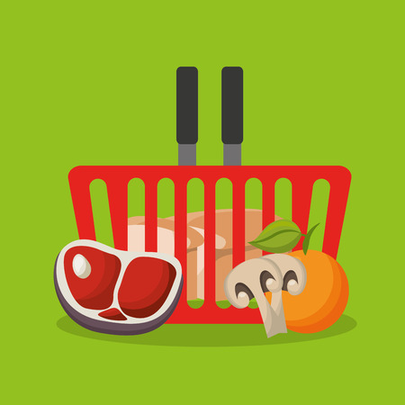 grocery shelves: grocery store set icons vector illustration design