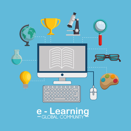 e-learning global community concept vector illustration design Illustration