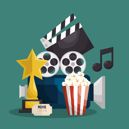 Cinematographic entertainment isolated icons vector illustration design Illustration