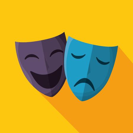 caretas teatro: máscaras de teatro aislado icono de ilustración vectorial de diseño