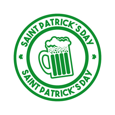 beer jar: sello sello del concepto del Día de San Patricio con el icono de jarra de cerveza sobre el fondo blanco. diseño colorido. ilustración vectorial Vectores