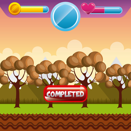 videogame interface with trees icon. colorful design. vector illustration