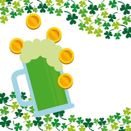beer jar: tarro de cerveza y monedas de dinero sobre los tréboles y un fondo blanco. concepto del Día de San Patricio. diseño colorido. ilustración vectorial