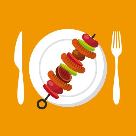 plate with grilled skewer  over orange background. colorful design. vector illustration