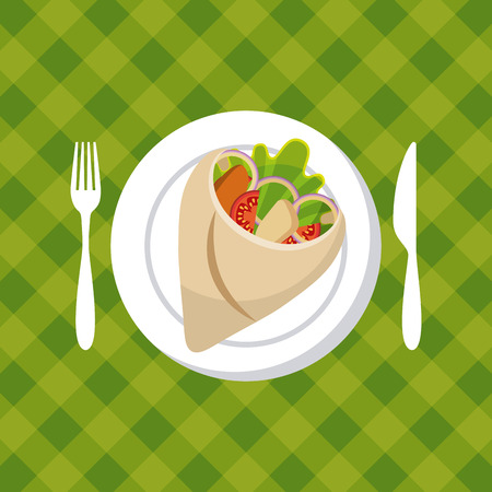 wrap: plate with wrap with vegetables over green background. colorful design. vector illustration