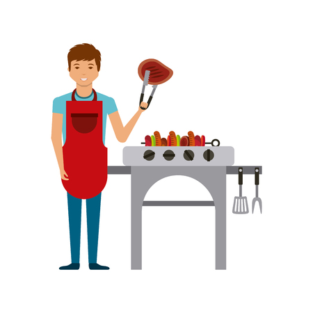 roasted: cartoon man with barbecue grill and grilled food icon. delicious barbecue concept. colorful design. vector illustration
