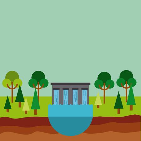 hydroelectric station: hydroelectric station plant water dam. colorful design. vector illustration