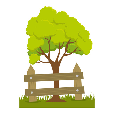 tree plant with fence vector illustration design