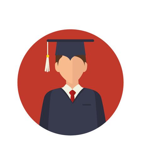 étudiant avec graduation uniforme vector illustration design Vecteurs