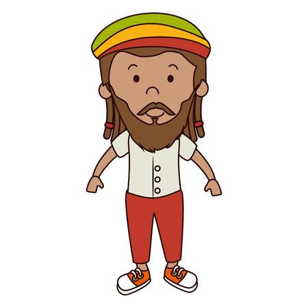 jamaican man: jamaican man character icon vector illustration design