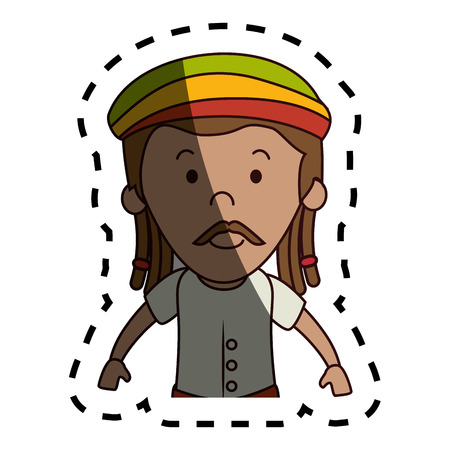 jamaican: jamaican man character icon vector illustration design