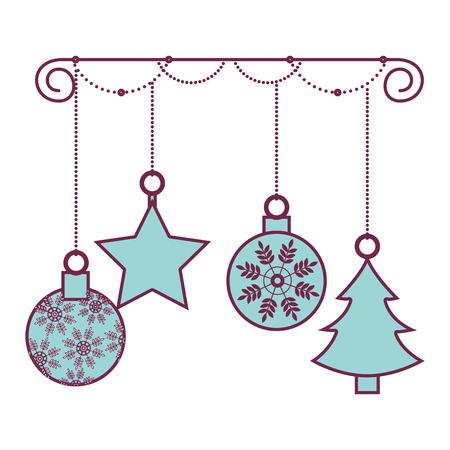 happy merry christmas balls card vector illustration design