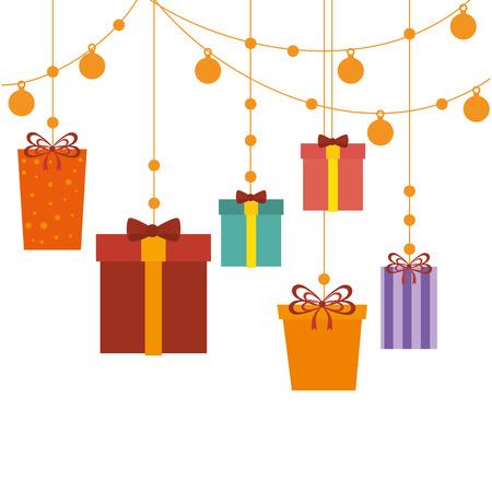 postcard box: happy merry christmas gift card vector illustration design