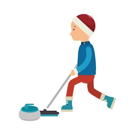granite: curling ice sport icon vector illustration design Illustration
