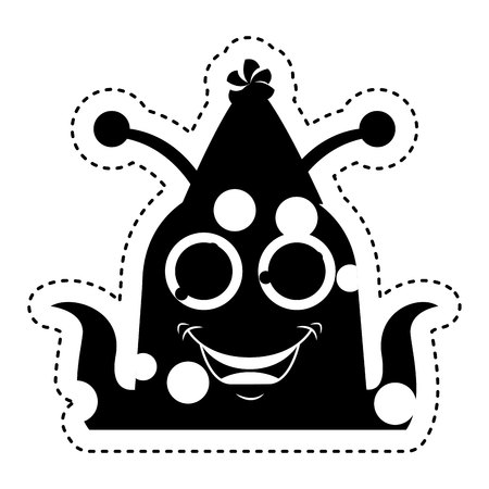 monster comic character with party hat icon vector illustration design Illustration