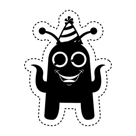 monster comic character with party hat icon vector illustration design Stock Photo