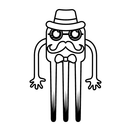 alien face: monster comic character with hipster style icon vector illustration design