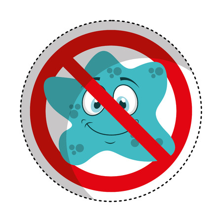 the bacteria signal: bacterium comic character with denied sign icon vector illustration design