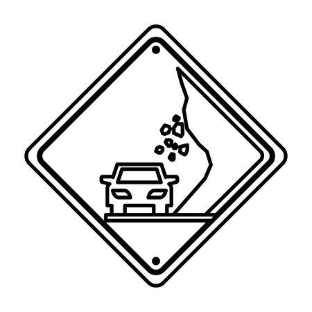 derrumbe: collapse traffic signal information icon vector illustration design