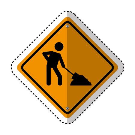 under construction traffic signal information icon vector illustration design