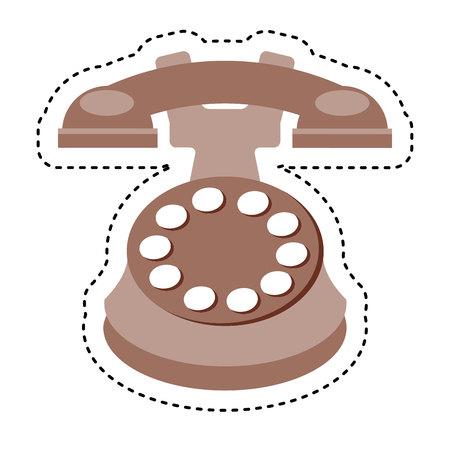 retro telephone: retro telephone isolated icon vector illustration design Stock Photo