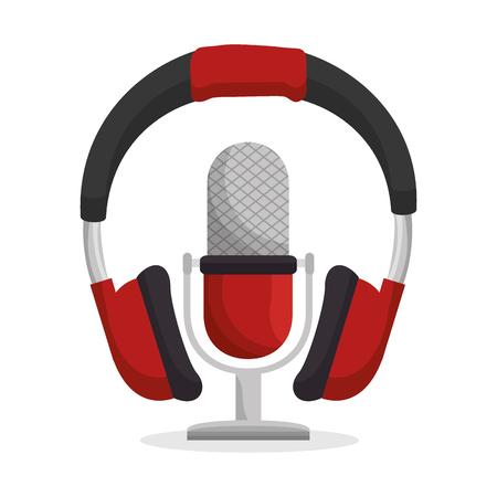 headset and microphone sound device icon vector illustration design
