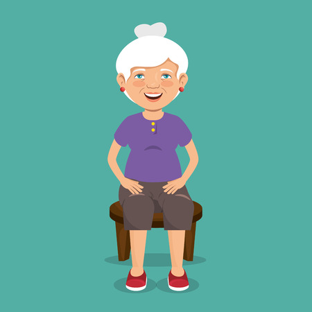 grandmother with sport clothes vector illustration design