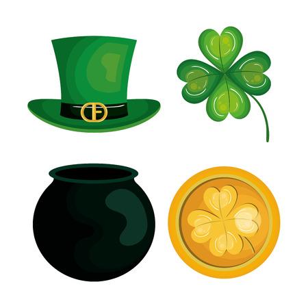 saint patrick day set icons vector illustration design