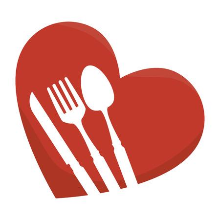 set cutlery in heart vector illustration design