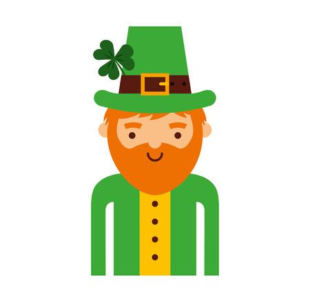 leprechaun irish character icon vector illustration design Illustration