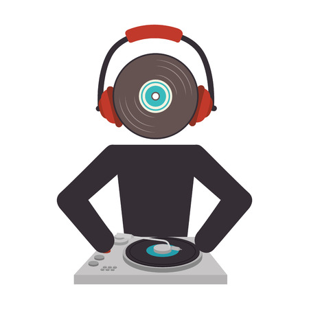 disk jockey: dj avatar silhouette icon vector illustration design