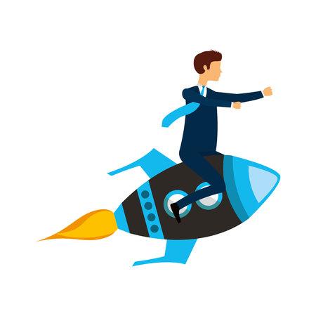 launcher: businessperson flying avatar in rocket vector illustration design