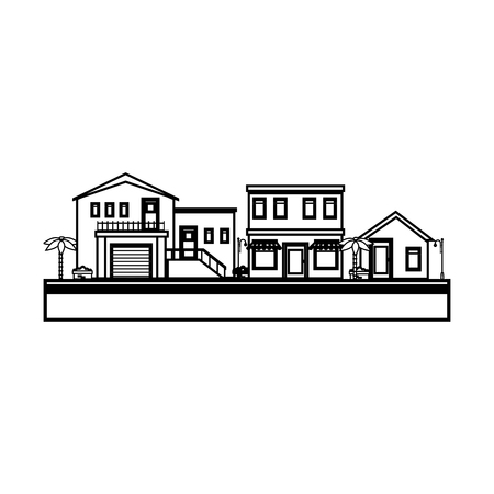 nice house: Nice neighborhood street icon vector illustration design