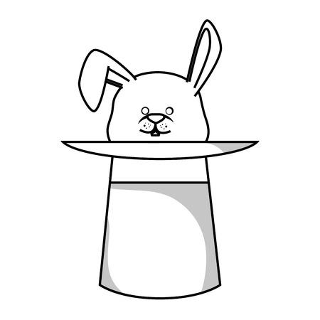 sombrero de mago: Wizard hat with rabbit isolated icon vector illustration design