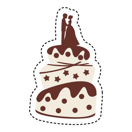 Torta de boda sobre fondo blanco, ilustración vectorial eps10