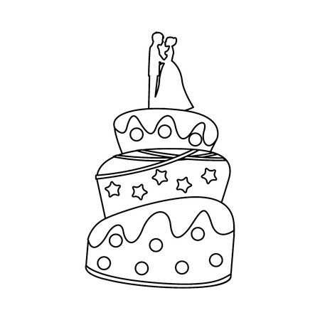 Cake wedding over white background, vector illustration eps10 Illustration