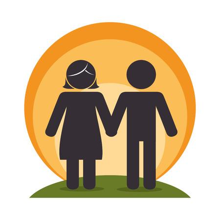 members: happy family members silhouette vector illustration design