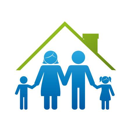 family: happy family members silhouette vector illustration design