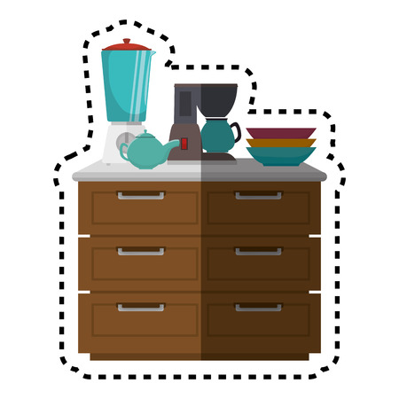 chest of drawers: Kitchen chest of drawers with appliances vector illustration design Illustration