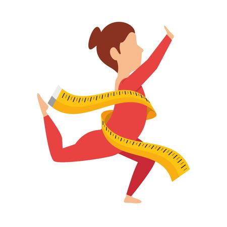 body female with tape measure vector illustration design