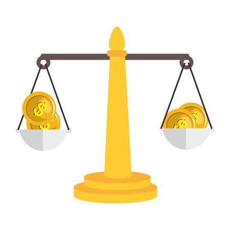 balance scale with money isolated icon vector illustration design Illustration